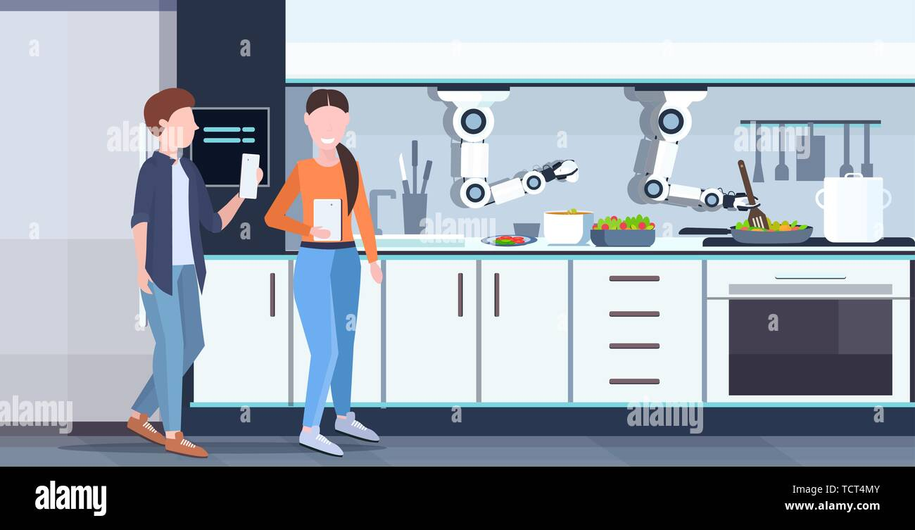 couple using mobile app controlling smart handy chef robot preparing fried eggs and omelet robotic assistant innovation artificial intelligence - Stock Vector
