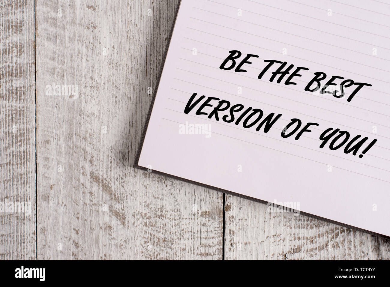 Conceptual hand writing showing Be The Best Version Of You. Concept meaning going to move away from where are start improving Notebook stationary plac - Stock Image