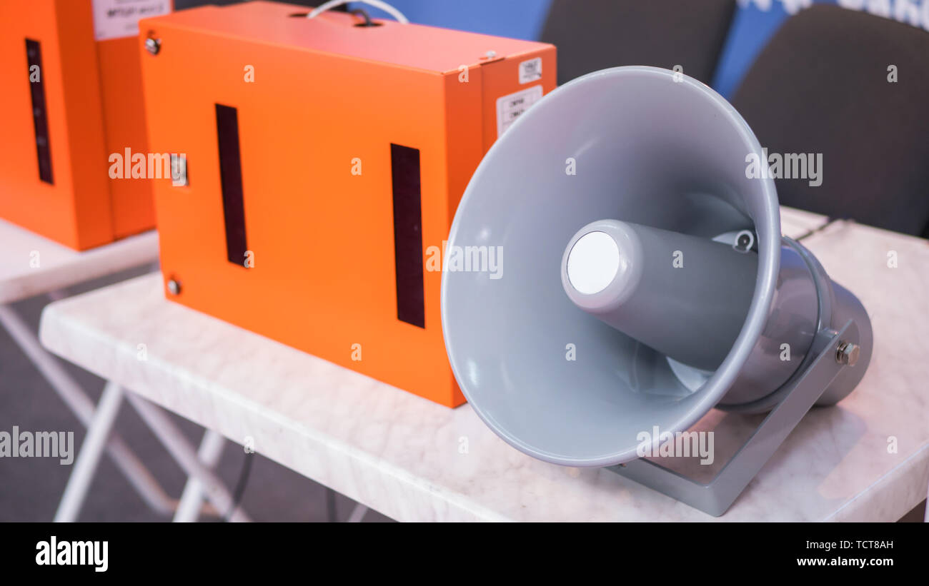 Light grey loudspeaker Stock Photo