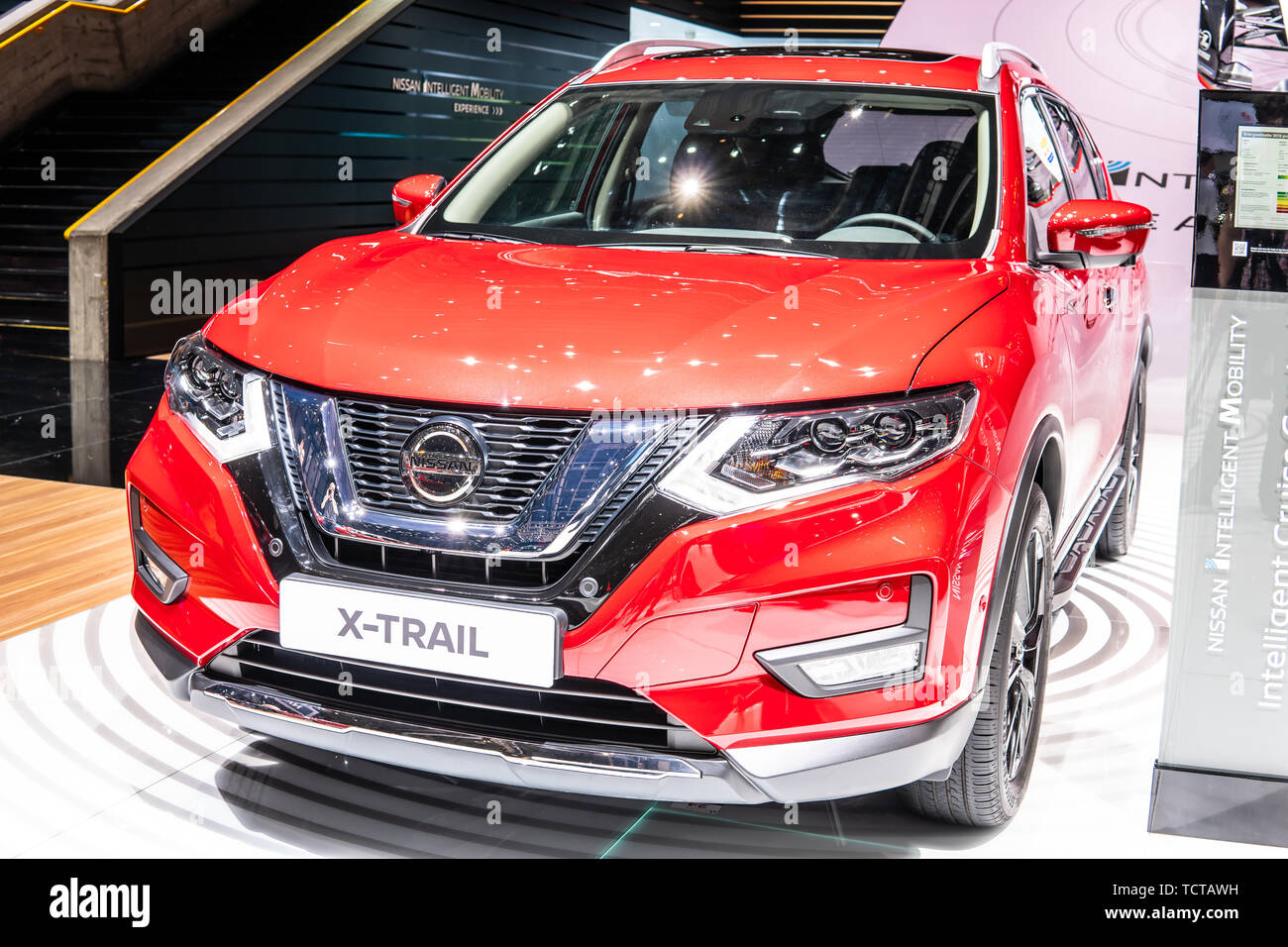 Geneva, Switzerland, March 07, 2019 Nissan X-Trail at Geneva International Motor Show, 3rd gen, compact crossover produced by Japanese Nissan - Stock Image