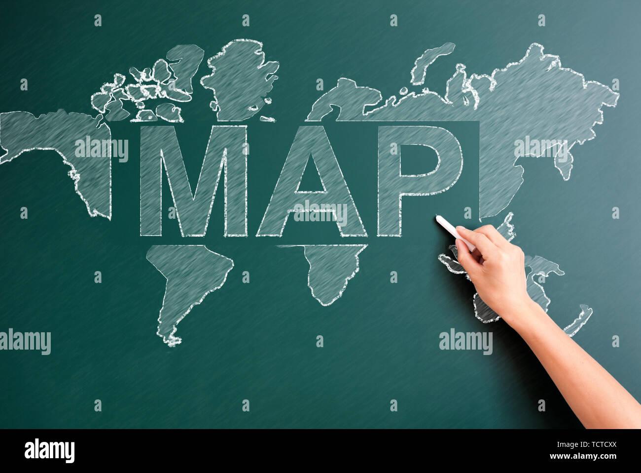 map written on blackboard - Stock Image