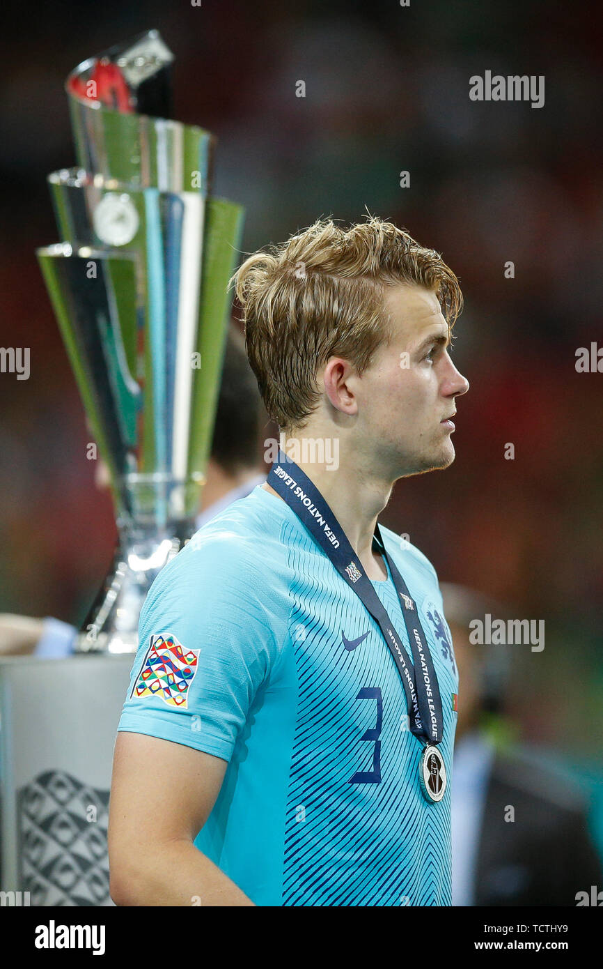 Porto Portugal 09th June 2019 Matthijs De Ligt Of Netherlands Walks Past The Trophy After Collecting His Runner Up Medal After The Uefa Nations League Final Match Between Portugal And Netherlands At Estadio