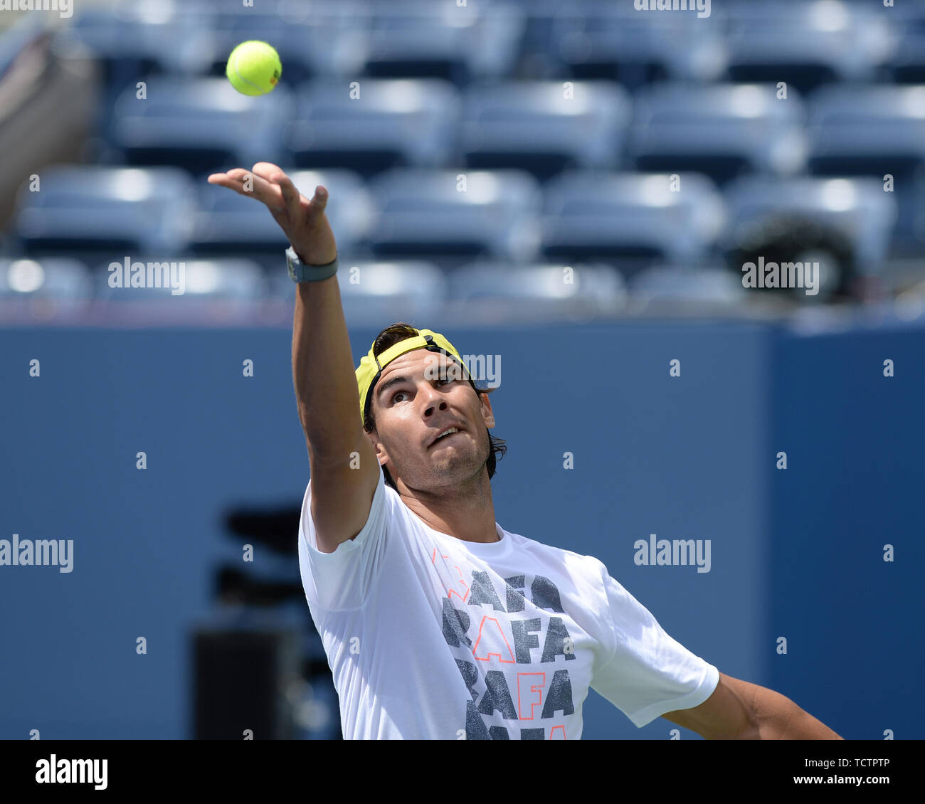 Queens, United States Of America. 24th Aug, 2013. FLUSHING, NY - AUGUST 23: Rafael Nadal practices with Andy Murray at Auther Ashe Stadium for the 2013 US Open at the USTA Billie Jean King National Tennis Center on August 23, 2013 in the Flushing neighborhood of the Queens borough of New York City. People: Rafael Nadal Credit: Storms Media Group/Alamy Live News Stock Photo