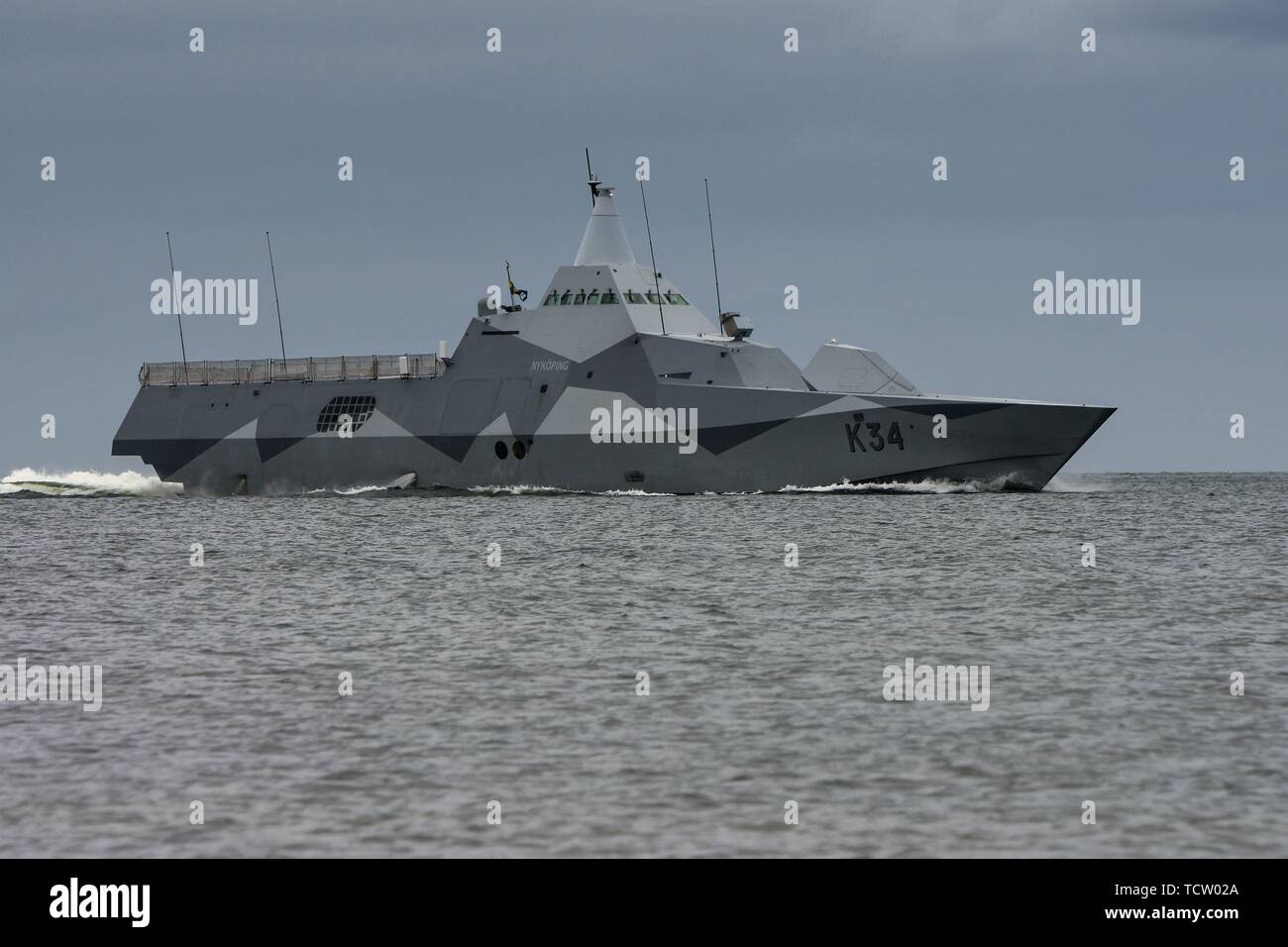 Keel, Deutschland. 06th June, 2019. 06.06.2019, the Corvette K34 Nykoping of the Swedish Navy when entering the Kiel Forde. The stealth ship participates in the NATO maneuver BALTOPS. The Visby class corvettes are among the world's first stealthy design stealth aircraft. Its water jet propulsion system has a maximum speed of 35 knots (65 km/h). | usage worldwide Credit: dpa/Alamy Live News - Stock Image