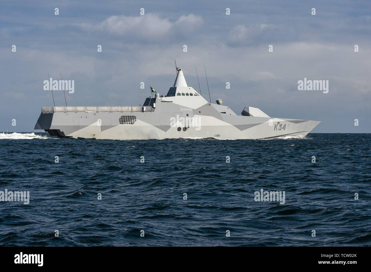Keel, Deutschland. 09th June, 2019. 09.06.2019, the Corvette K34 Nykoping of the Swedish Navy when leaving the Kiel Forde. The stealth ship participates in the NATO maneuver BALTOPS. The Visby class corvettes are among the world's first stealthy design stealth aircraft. Its water jet propulsion system has a maximum speed of 35 knots (65 km/h). | usage worldwide Credit: dpa/Alamy Live News - Stock Image