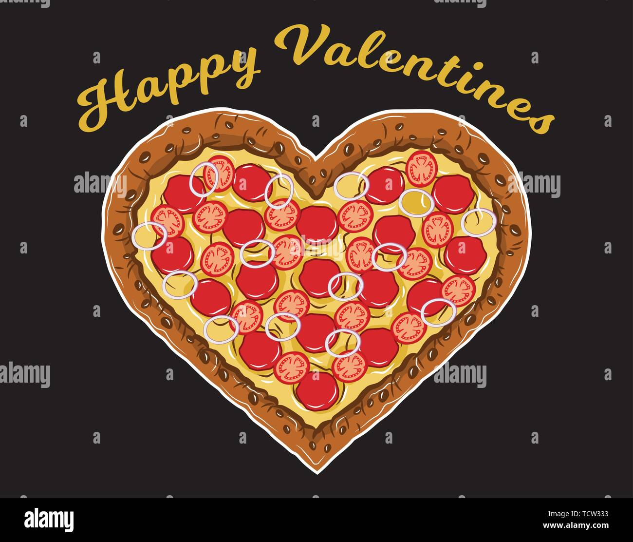 Delicious Hear Pizza for Valentines Day Perfect for Lovely Couple - Stock Vector
