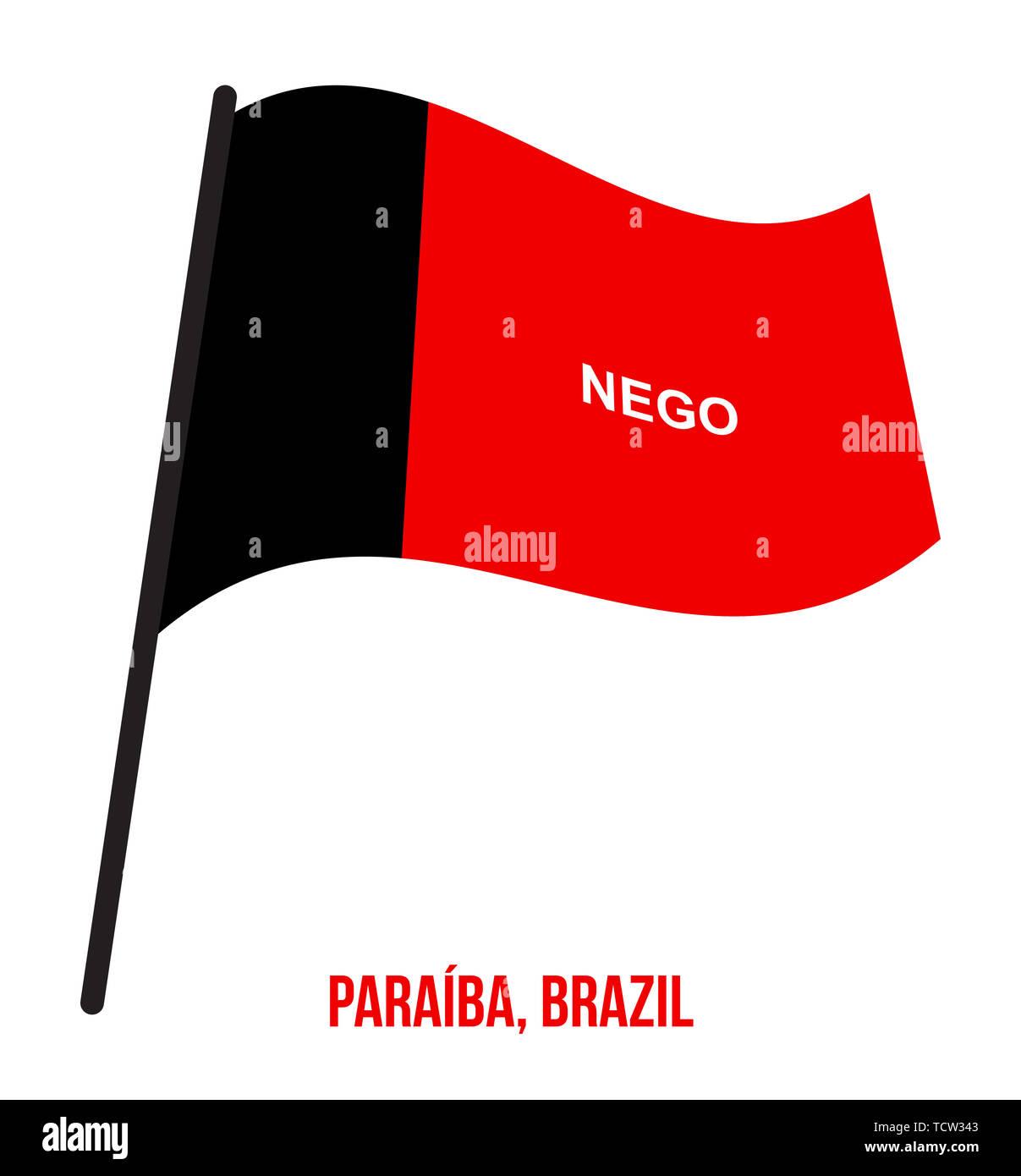 Paraiba Flag Waving Vector Illustration on White Background. States Flag of Brazil. Stock Photo