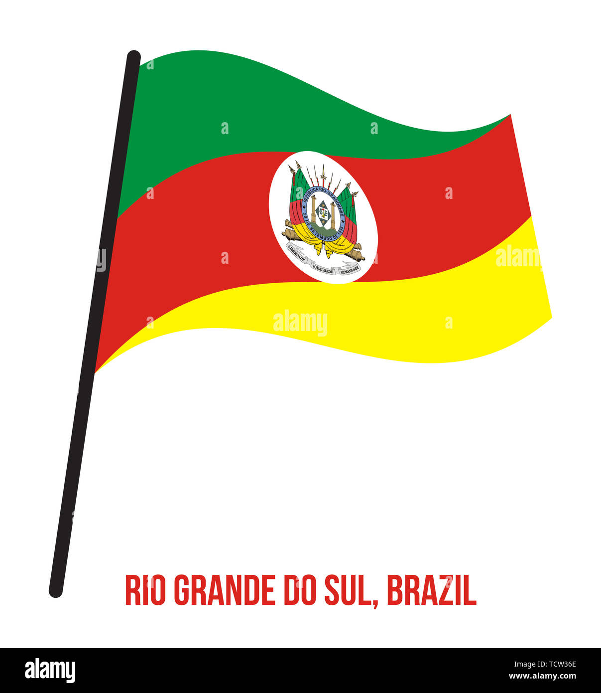 Rio Grande do Sul Flag Waving Vector Illustration on White Background. States Flag of Brazil. Stock Photo