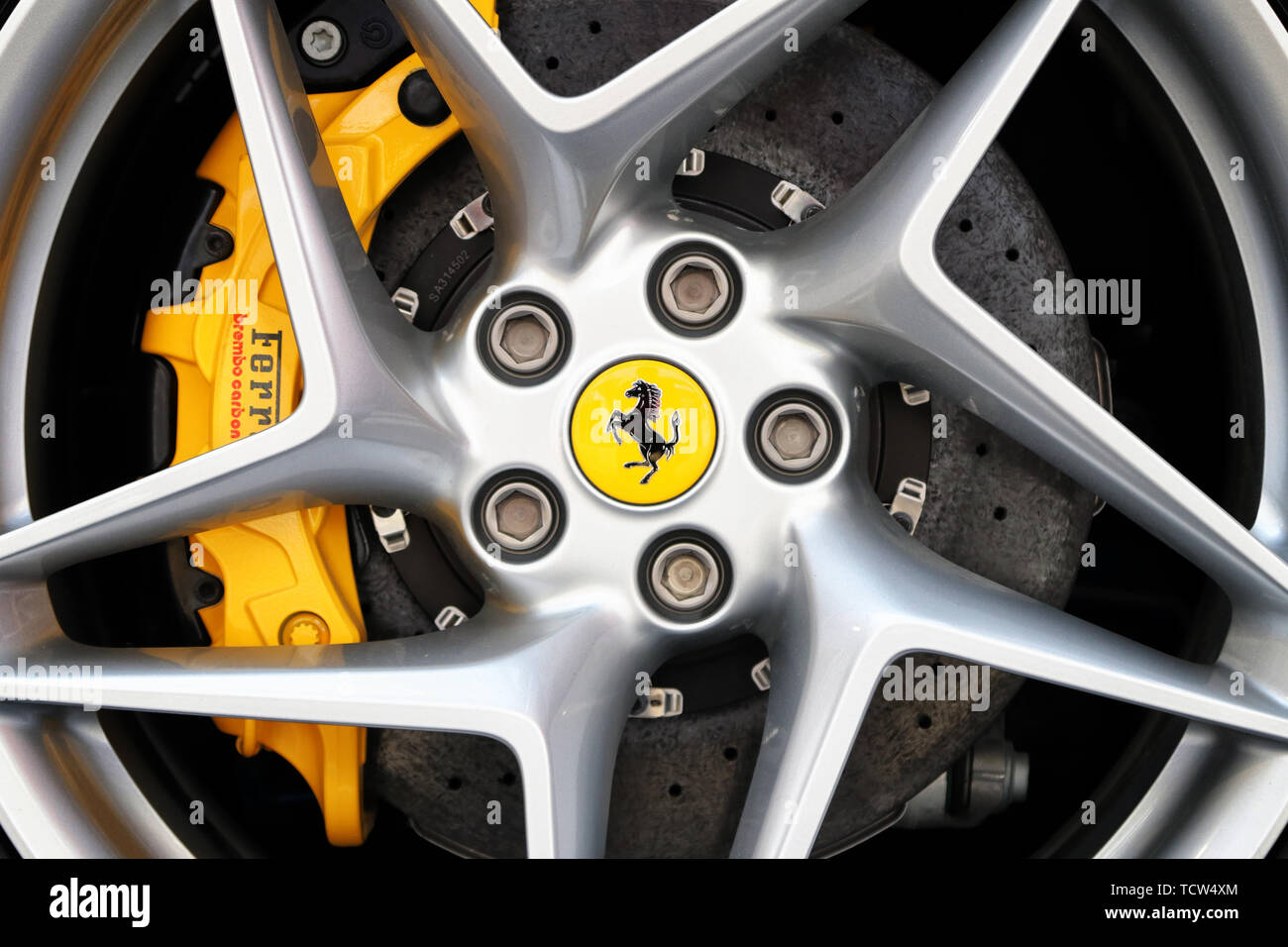 MODENA, ITALY, May 2019 - Motor Valley Fest exhibition, Ferrari F8 Tributo wheel detail - Stock Image