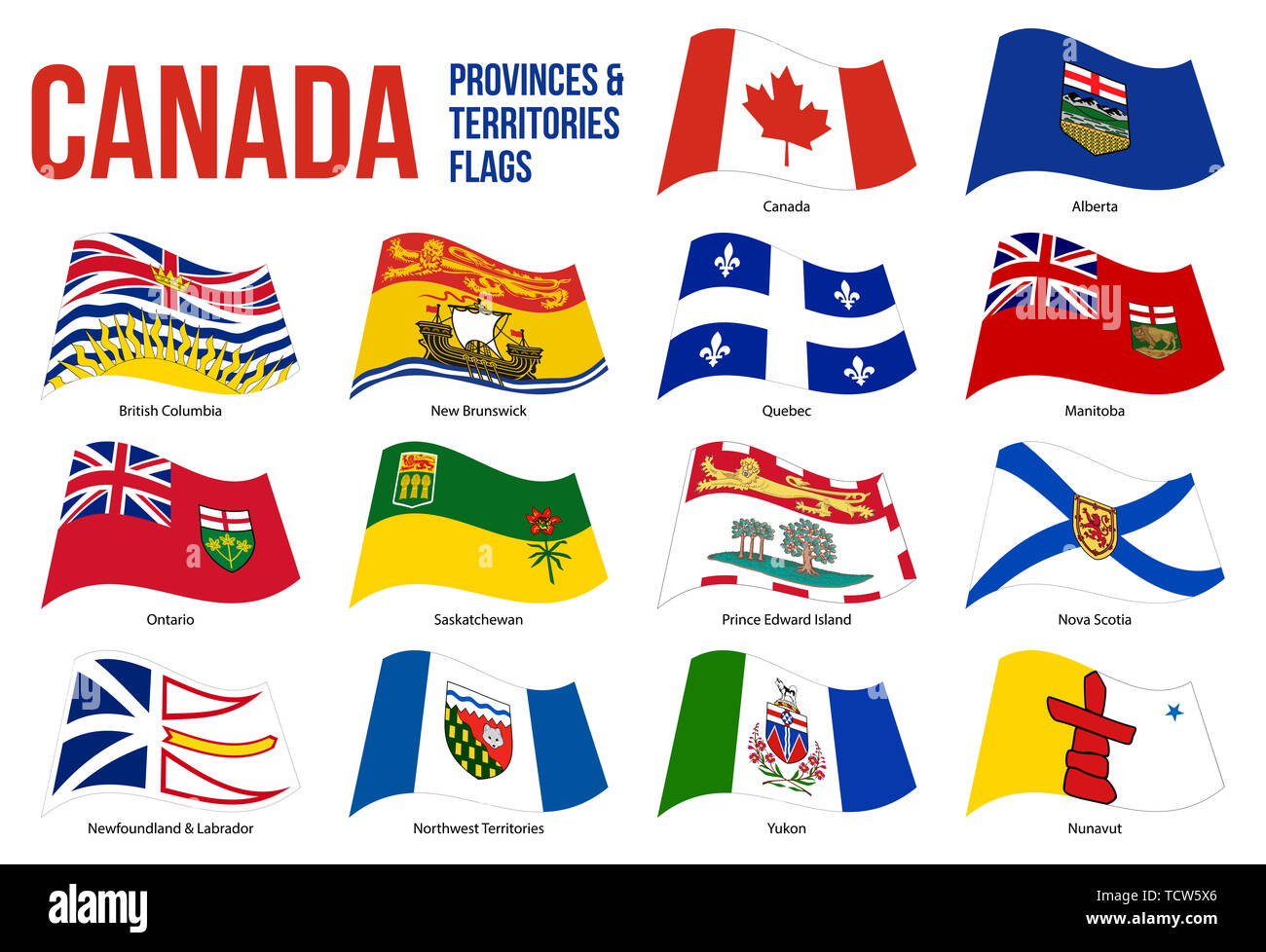 Canada All Provinces & Territories Flag Waving Vector Illustration on White Background. Flags of Canada. Correct Size, Proportion and Colors. - Stock Image