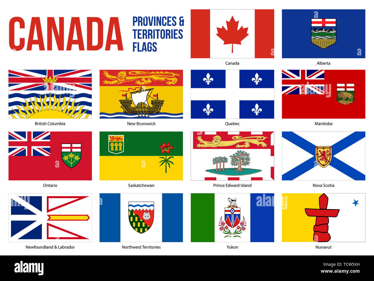 Canada All Provinces & Territories Flag Vector Illustration on White Background. Flags of Canada. Correct Size, Proportion and Colors. - Stock Image