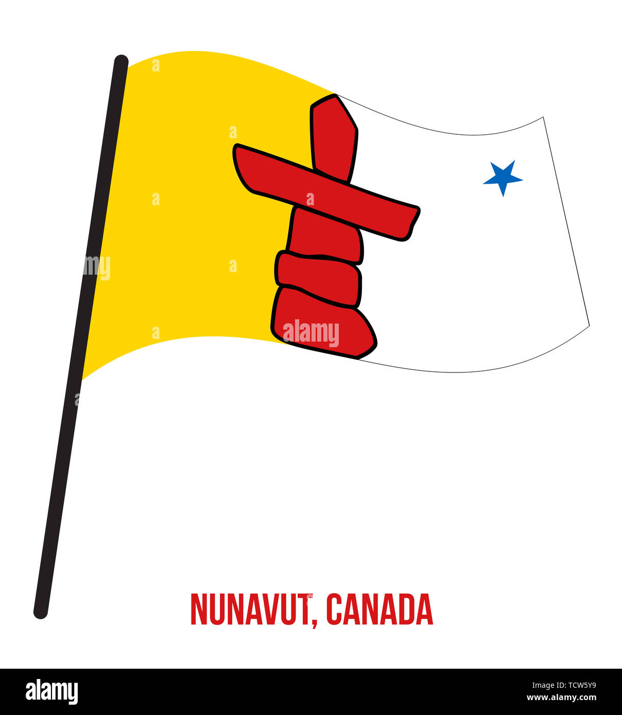 Nunavut Flag Waving Vector Illustration on White Background. Territory Flag of Canada. Correct Size, Proportion and Colors. - Stock Image