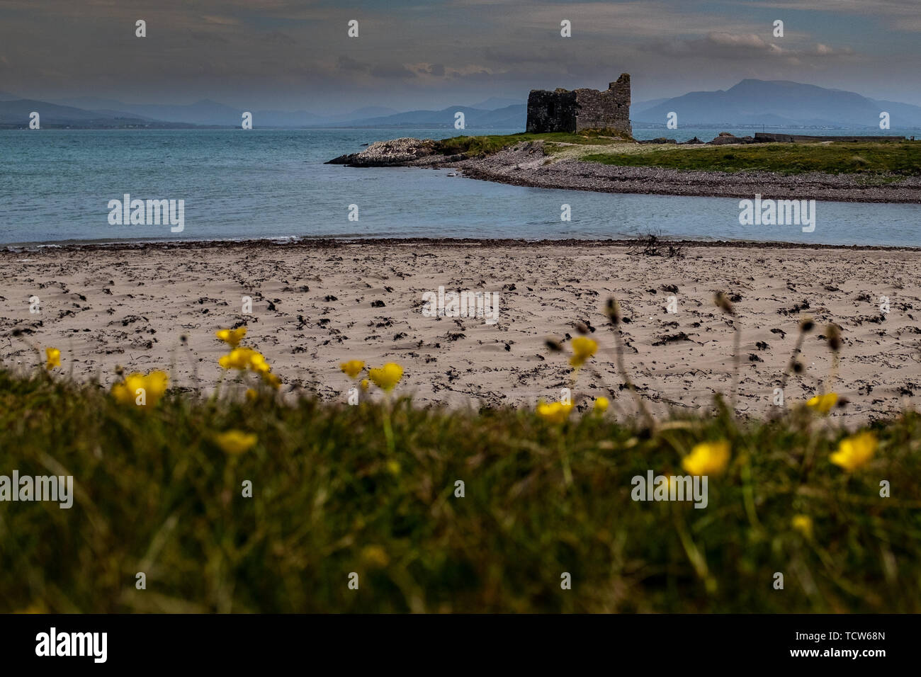 The desolate ruins of a large house or small castle on the coastline on the Ring of Kerry, Ireland on an overcast day - Stock Image