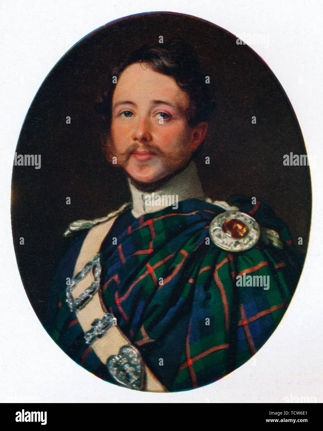 "George Murray, 6th Duke of Atholl, c1850, (1930). Portrait of George Augustus Frederick John Murray, 6th Duke of Atholl (1814-1864), who provided for the construction of a piped water supply to the town of Dunkeld in Perthshire, Scotland. Murray was a lieutenant of the 2nd Dragoon Guards in the British Army. From ""The Connoisseur"", Volume 86, edited by C. Reginald Grundy. [The Connoisseur Ltd, London, 1930] - Stock Image"