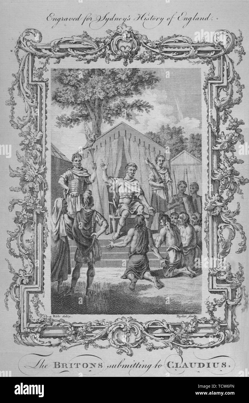 """'The Britons submitting to Claudius', 1773. Emperor Claudius, reigned AD41-54. ordered the invasion of Britain. ...the Romans met a large army of Britons, and captures the Catuvellauni king Caratacus in Kent. The Britons were defeated in a two-day battle, then again shortly afterwards on the Thames. After Samuel Wale (1721-1786). From """"A New and Complete History of England, From the Earliest Period of Authentic Intelligence to the Present Time"""", by Temple Sydney. [J. Cooke, London, 1773] - Stock Image"""