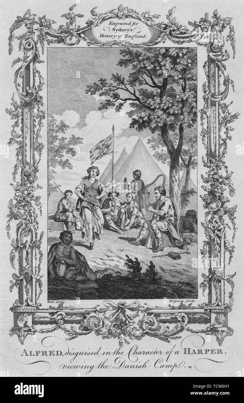 """'Alfred, disguised in the Character of a Harper, viewing the Danish Camp', 1773. After Samuel Wale (1721-1786). King Alfred the Great (849-899)  From """"A New and Complete History of England, From the Earliest Period of Authentic Intelligence to the Present Time"""", by Temple Sydney. [J. Cooke, London, 1773] - Stock Image"""