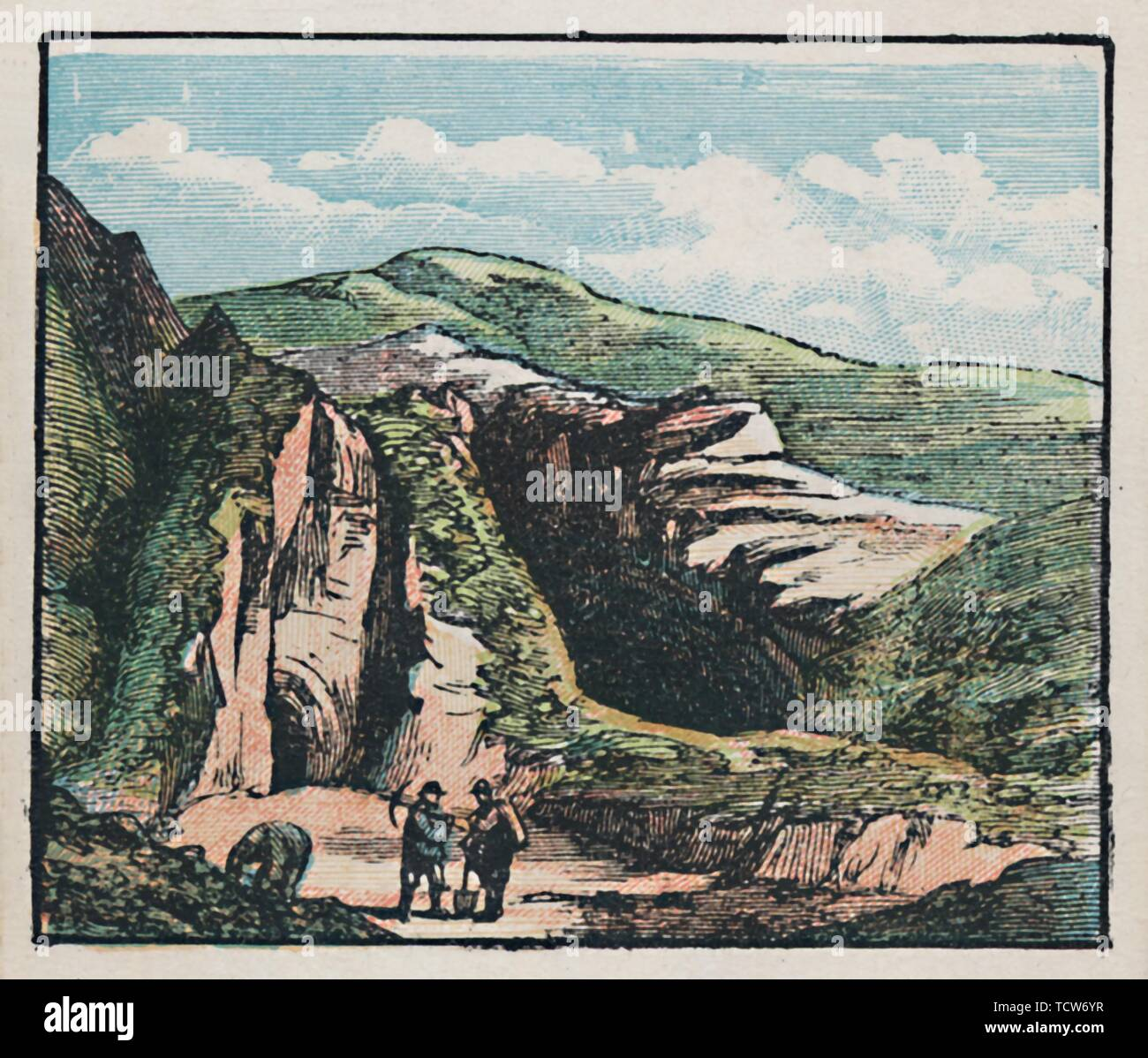 """'Bakewell', c1910. 'Many Mines and Quarries in the neighbourhood. Population, 3,070.' Industrial scene near Bakewell in Derbyshire. From """"The Counties of England - A Geographical Game: 4th Series"""". [Jaques & Son, Ltd., London] - Stock Image"""
