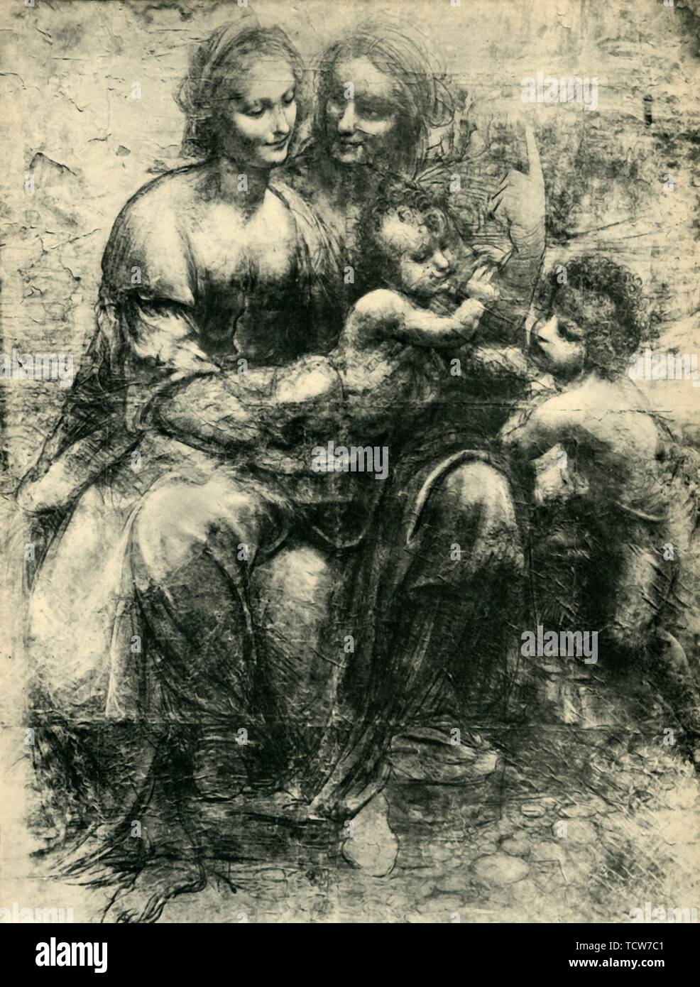 """The Virgin and Child with St Anne and St John the Baptist, (The Burlington House Cartoon), 1499-1500, (1943). The Virgin Mary sits on the lap of her mother, Saint Anne as the Christ Child blesses his cousin Saint John the Baptist. Drawing in the National Gallery, London. From """"Europäische Handzeichnungen"""", (Five Hundred Years of European Drawings), by Bernhard Degenhart. [Atlantis-Verlag Berlin, Zürich, 1943] - Stock Image"""