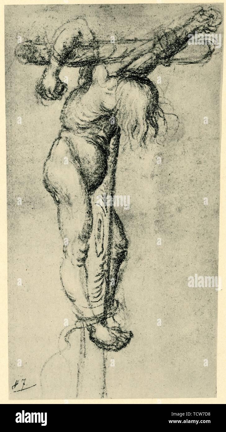 "Thief on the cross, 1500-1504, (1943). Detail from crucifixion scene. Drawing in the Kupferstichkabinett, Staatlichen Museen, Berlin. From ""Europäische Handzeichnungen"", (Five Hundred Years of European Drawings), by Bernhard Degenhart. [Atlantis-Verlag Berlin, Zürich, 1943] - Stock Image"
