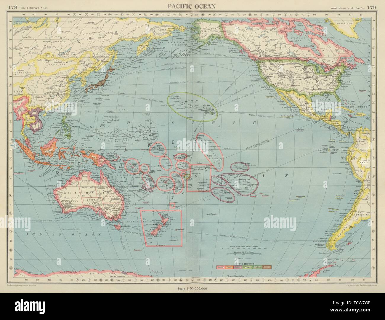 PACIFIC OCEAN showing British French Dutch US territory. US ...