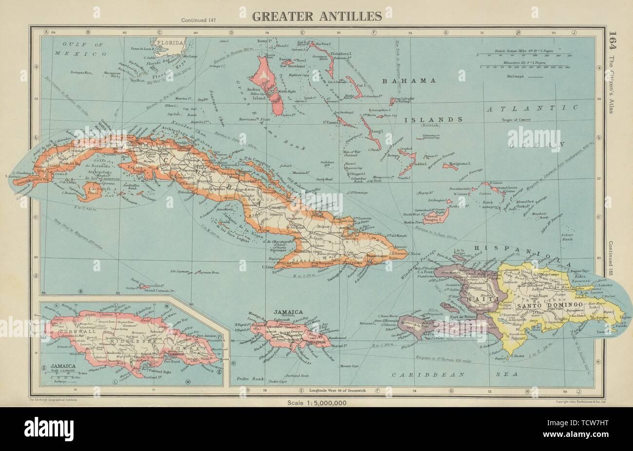 GREATER ANTILLES. Cuba Hispaniola Jamaica Bahamas. Haiti Dominican Rep. 1947 map Stock Photo