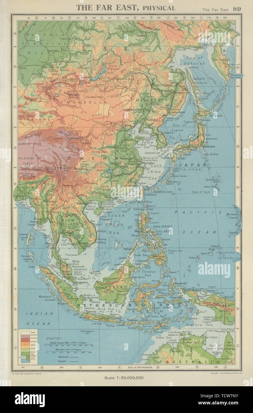 The Far East Physical East Asia East Indies China Japan