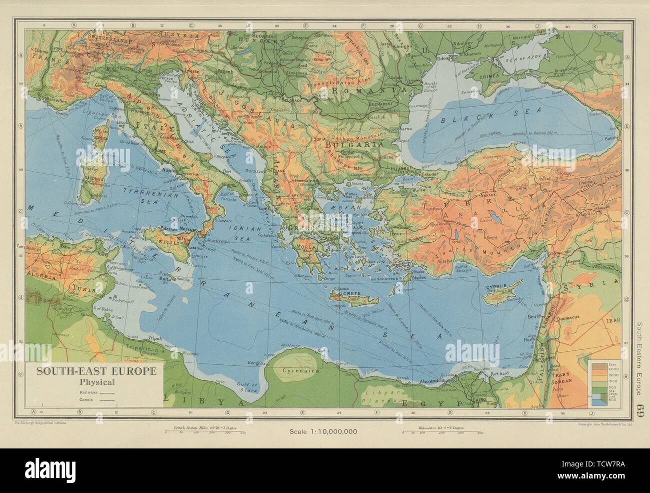 Map Of Eastern Italy.South Eastern Europe Eastern Mediterranean Balkans Greece Turkey