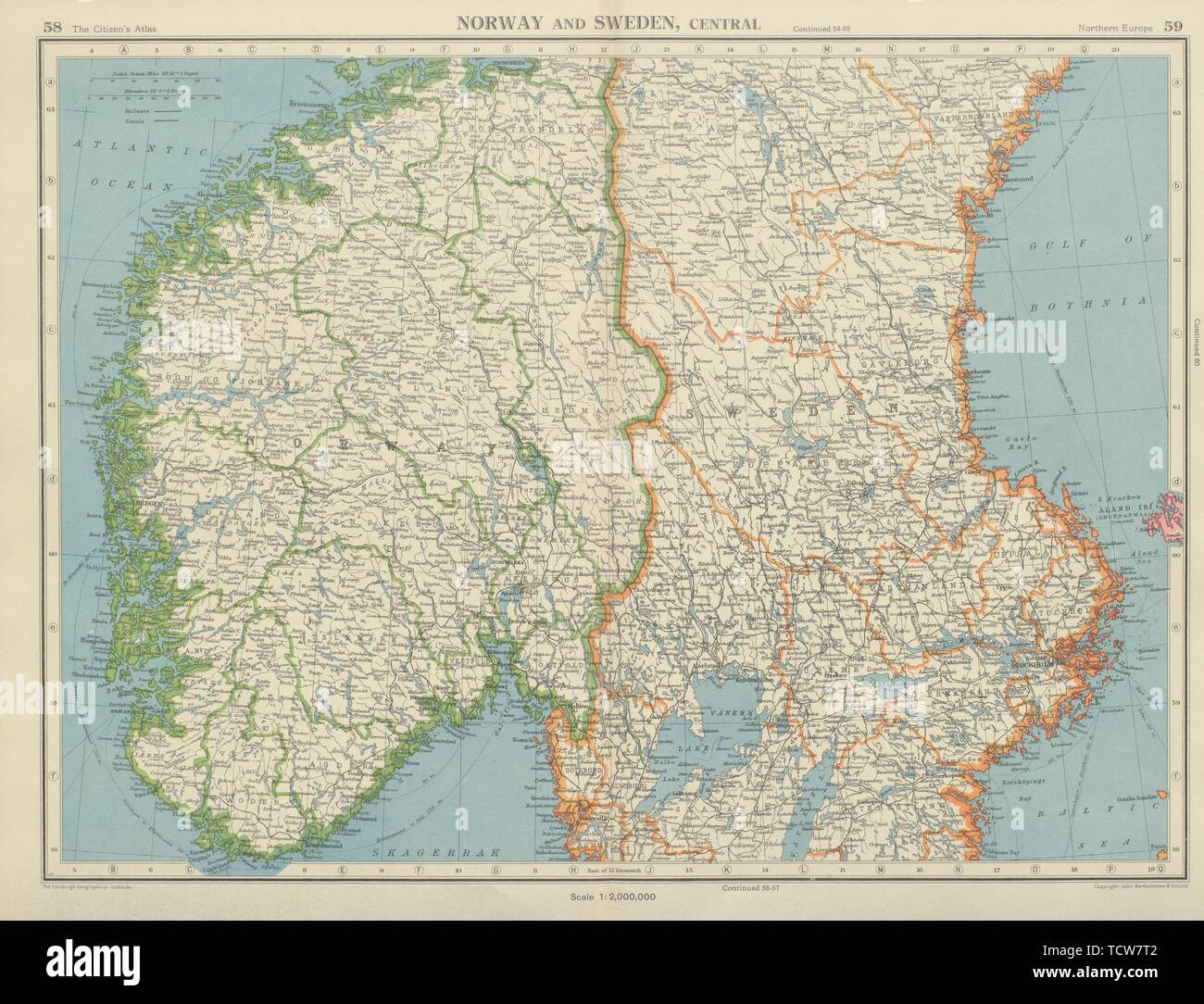 SCANDINAVIA. Norway and Sweden, Central. Railways. BARTHOLOMEW 1947 old map - Stock Image