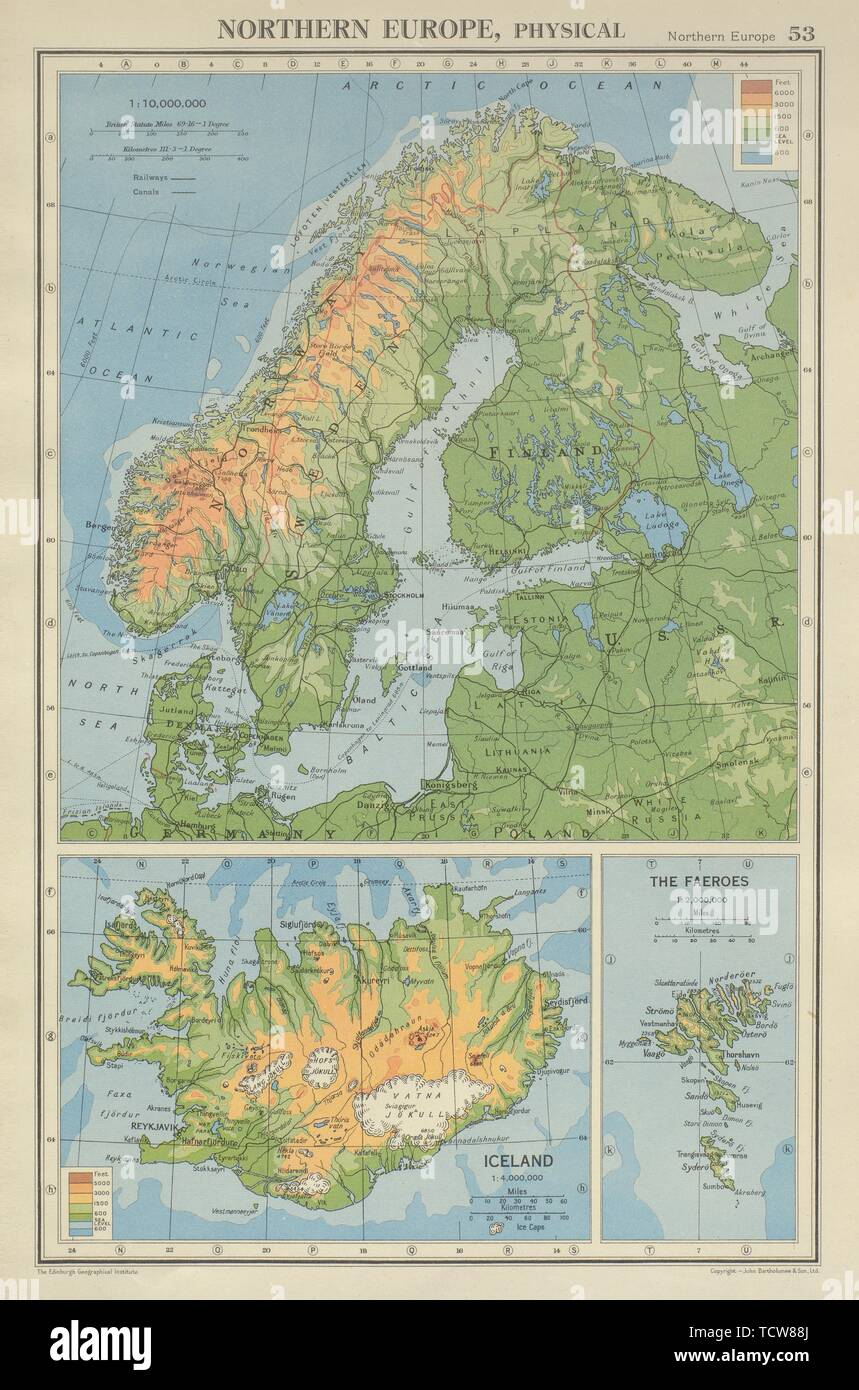 SCANDINAVIA PHYSICAL. Norway Sweden Denmark Finland 1947 old vintage map chart - Stock Image
