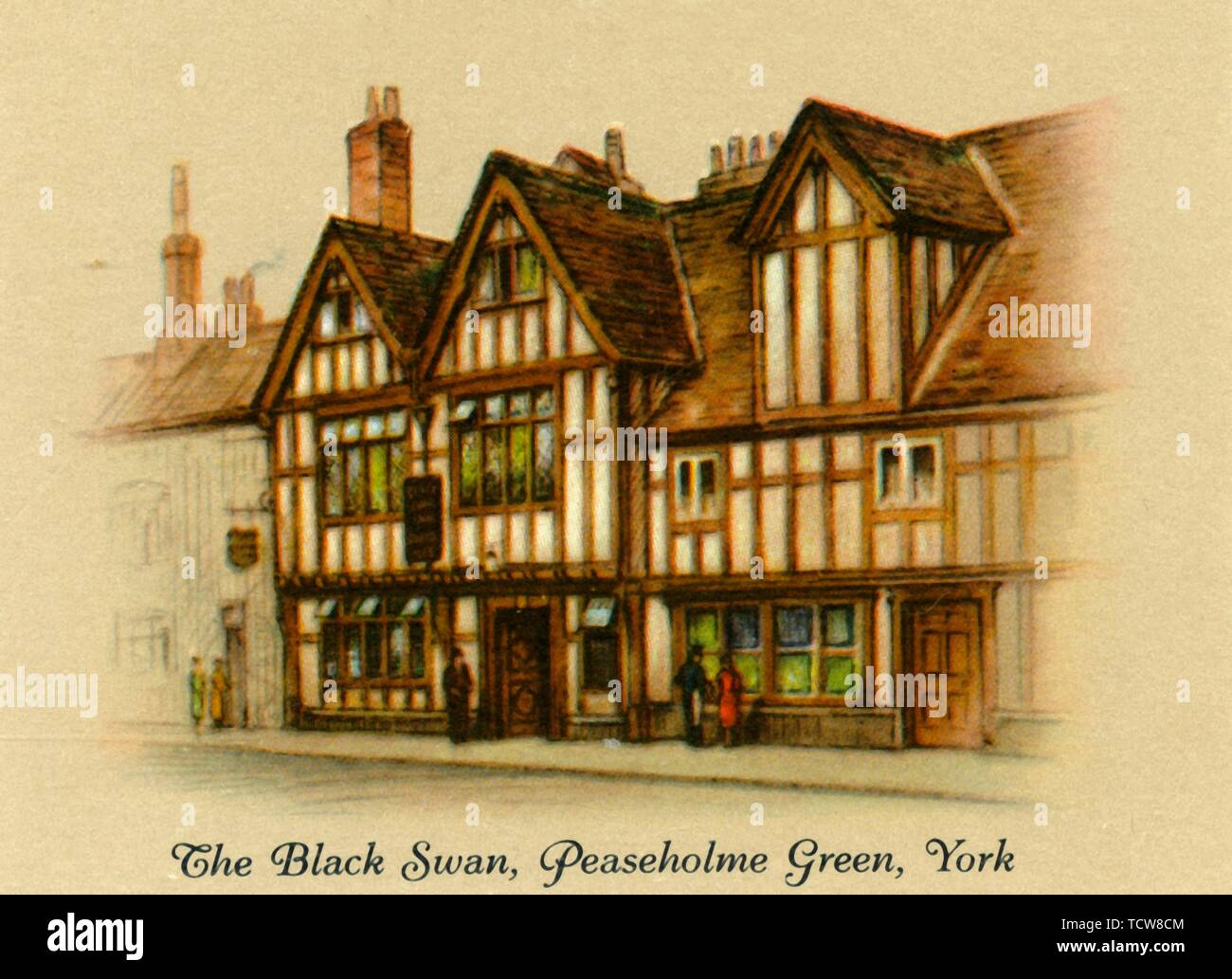 """'The Black Swan, Peaseholme Green, York', 1936. The Black Swan inn, York, a timber framed building dating from 15th century. From """"Old Inns - A Series of 40"""", 1936. [W. D. & H. O. Wills, 1936] - Stock Image"""