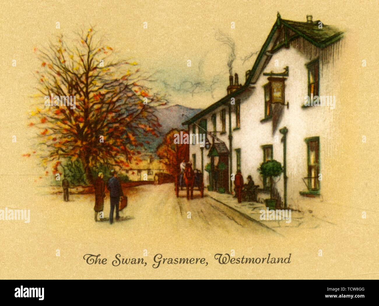 "'The Swan, Grasmere, Westmorland', 1939. Macdonald Swan Hotel,  former coaching inn built 1650s, one of the oldest hotels in the Lake District, mentioned in Wordsworth's poem ""The Waggoner"". From ""Old Inns - Second Series of 40"", . [W. D. & H. O. Wills] - Stock Image"