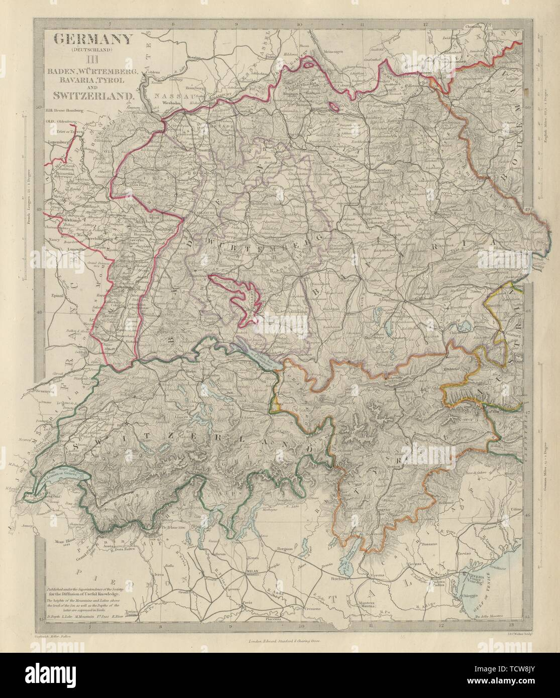 Map Of Germany And Switzerland.Germany South Switzerland Austria Baden Wurttemberg Bavaria Tyrol