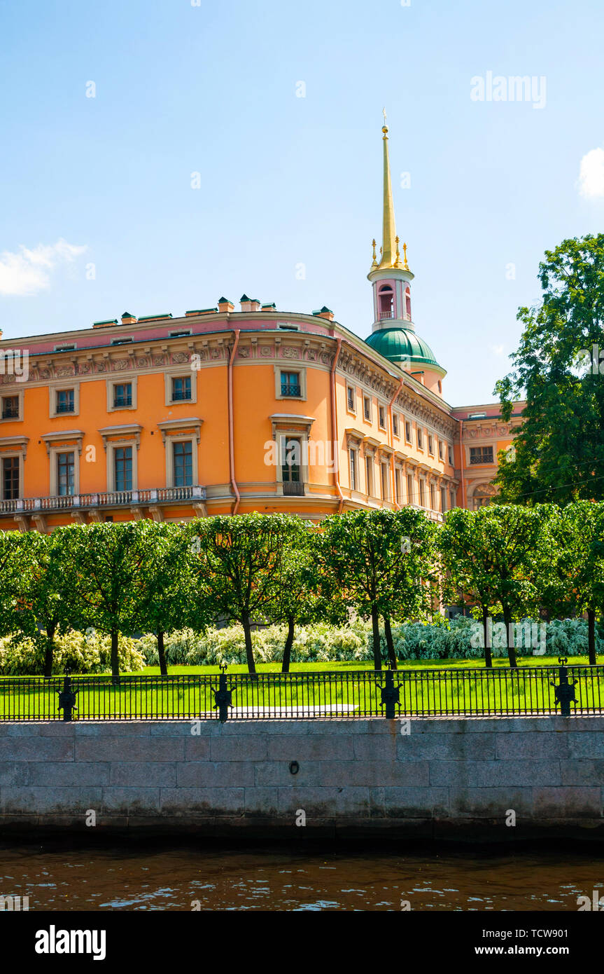St Petersburg, Russia - June 6, 2019. Mikhailovsky Castle or Engineers Castle in St Petersburg, Russia - Northern side view of St Petersburg landmark. - Stock Image