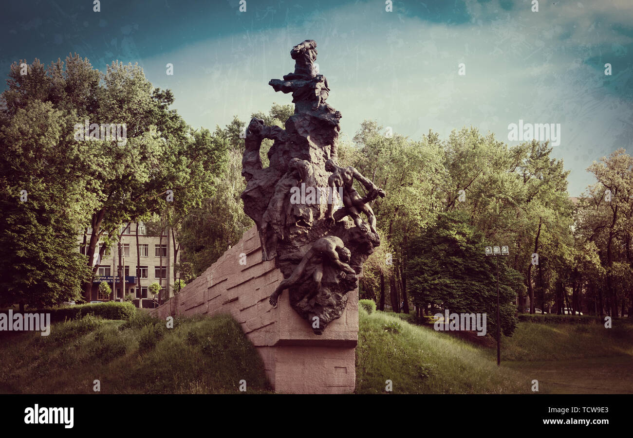 Kiev Ukraine - May 25, 2019. Monument to Soviet citizens and prisoners of war killed by Nazi occupiers in Babyn Yar in Kyiv, Ukraine in 1941-1943 - Stock Image