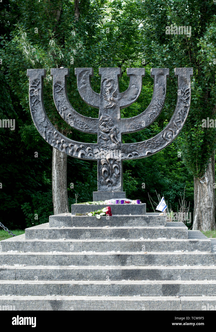 Kiev Ukraine - May 25, 2019. Menorahs Monument at Babi Yar memorial complex, place of massacres carried out by German forces during World War II. - Stock Image