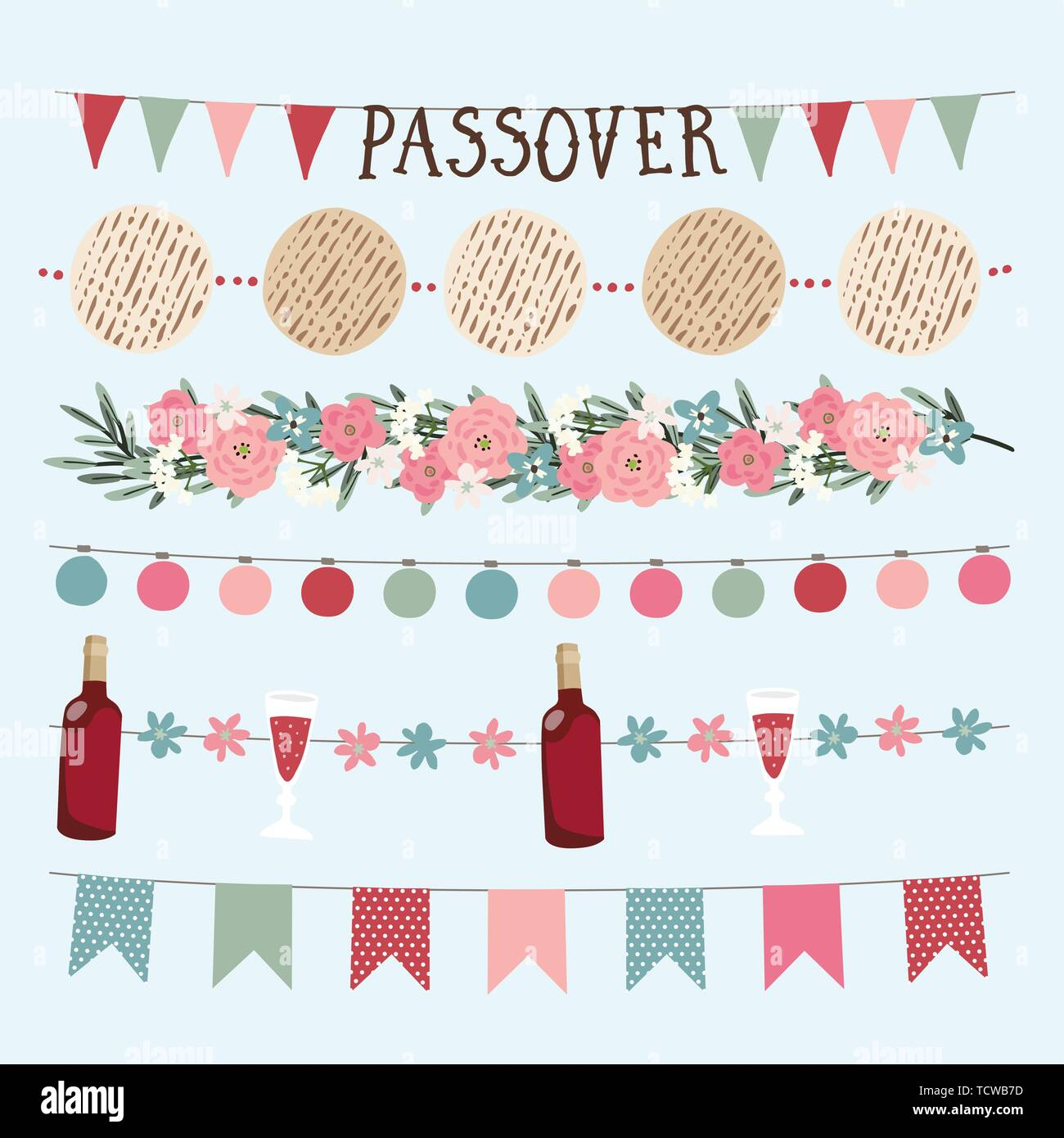 Set of hand drawn Jewish holiday Pesach, Passover garlands with lights, party bunting flags. Hand drawn web banners, borders with bottle of wine - Stock Vector