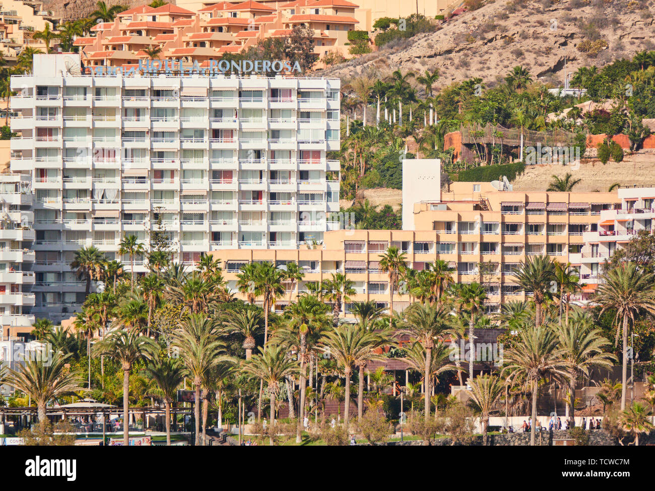 Hotels with swimmimg pool , beach and park with tourists sunbathing in Adeje, Tenerife, Spain, March 16, 2019. © Peter Schatz / Alamy Stock Photos - Stock Image
