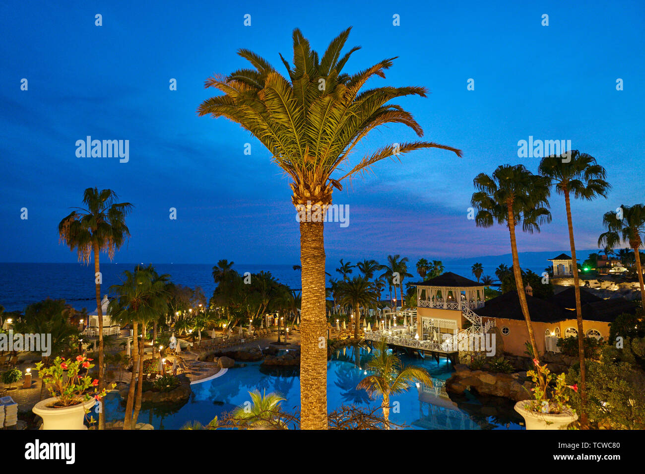 Iberostar Hotel Anthelia with swimmimg pool , beach and park with tourists sunbathing in Adeje, Tenerife, Spain, March 17, 2019. © Peter Schatz / Alam - Stock Image