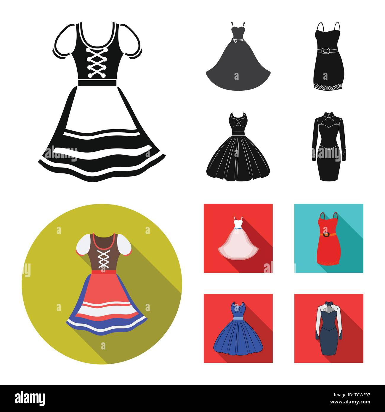 Isolated object of dress and clothes icon. Set of dress and evening vector icon for stock. - Stock Vector