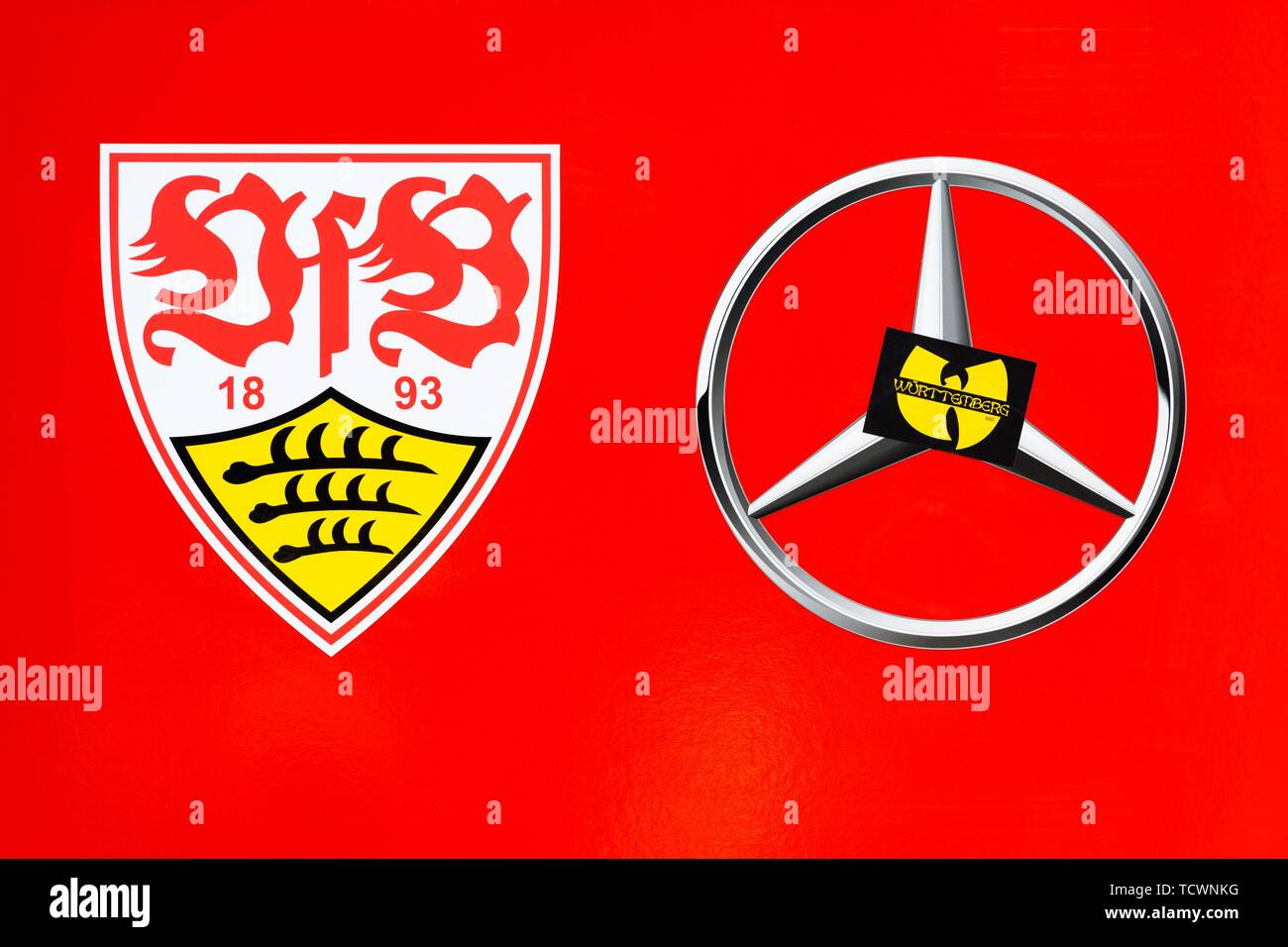 9998a0e0 Logos, football club VFB Stuttgart, sponsor Mercedes Benz, Germany - Stock  Image