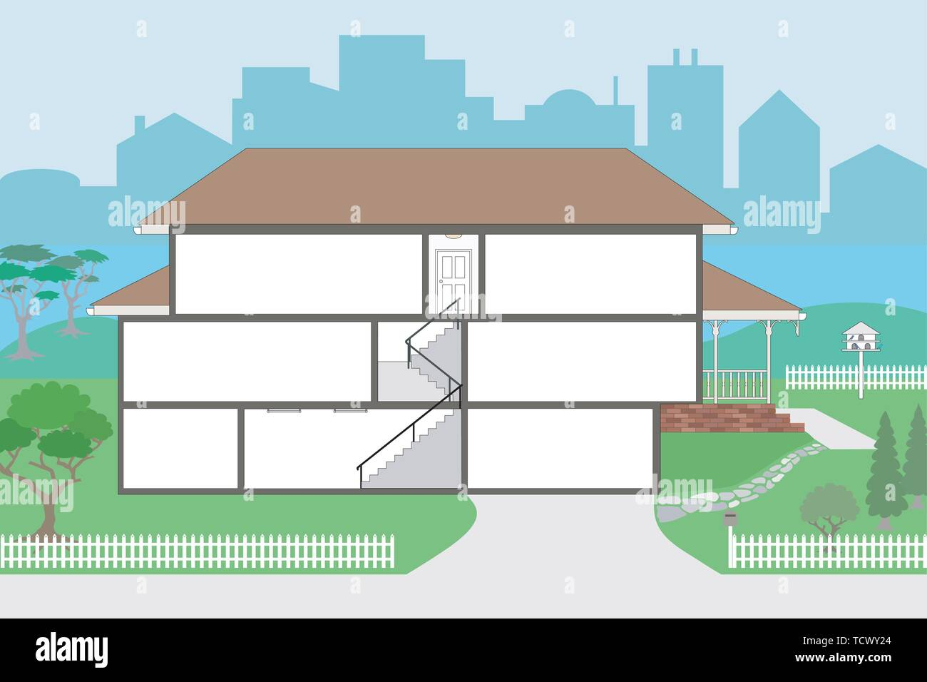 Large Cutaway House Ready to Decorate - please see my portfolio for the rooms which will fit straight into this house, rooms are very highly detailed  Stock Vector