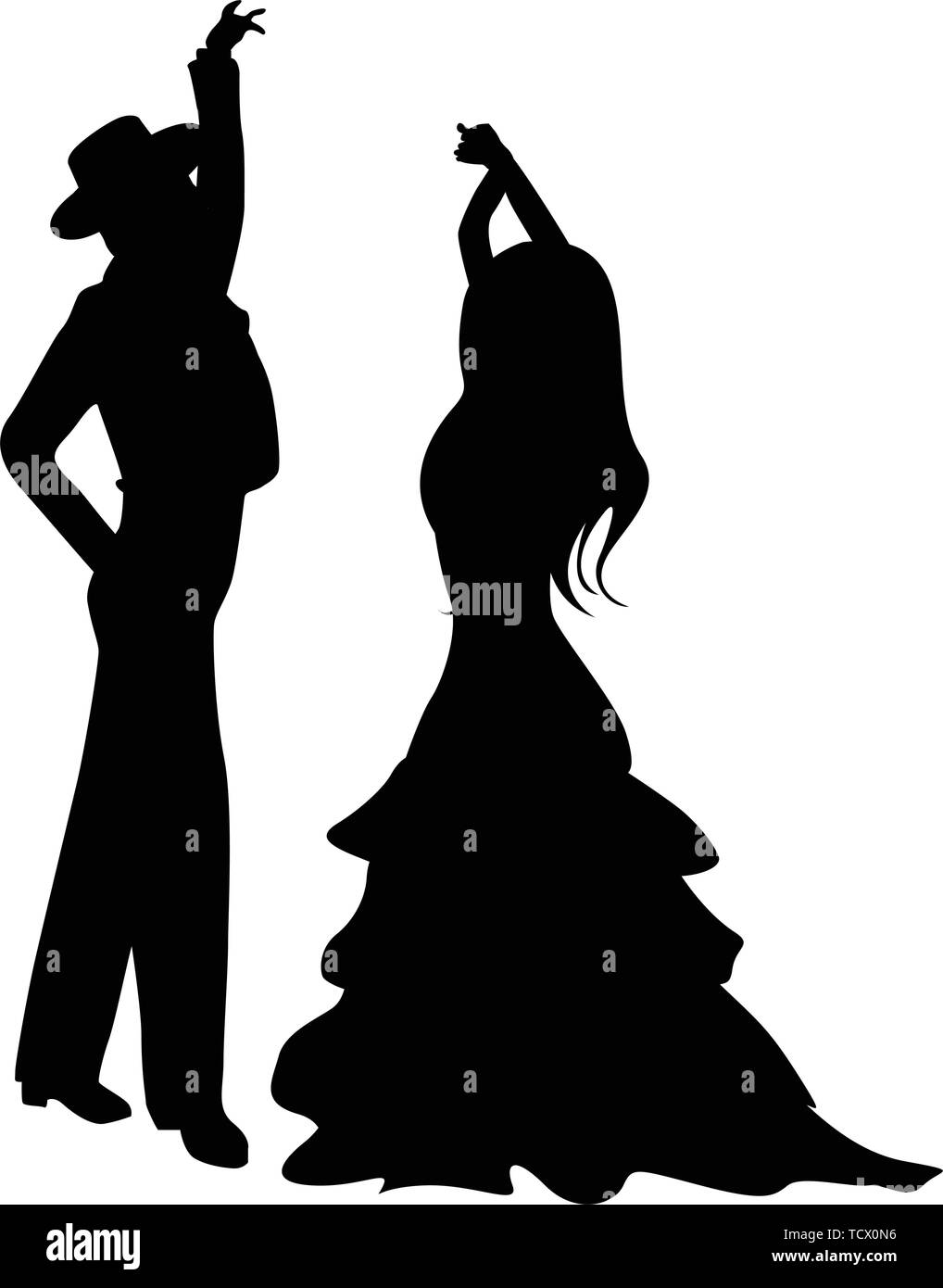 Flamenco dancers silhouettes, isolated and grouped objects over white background - Stock Image