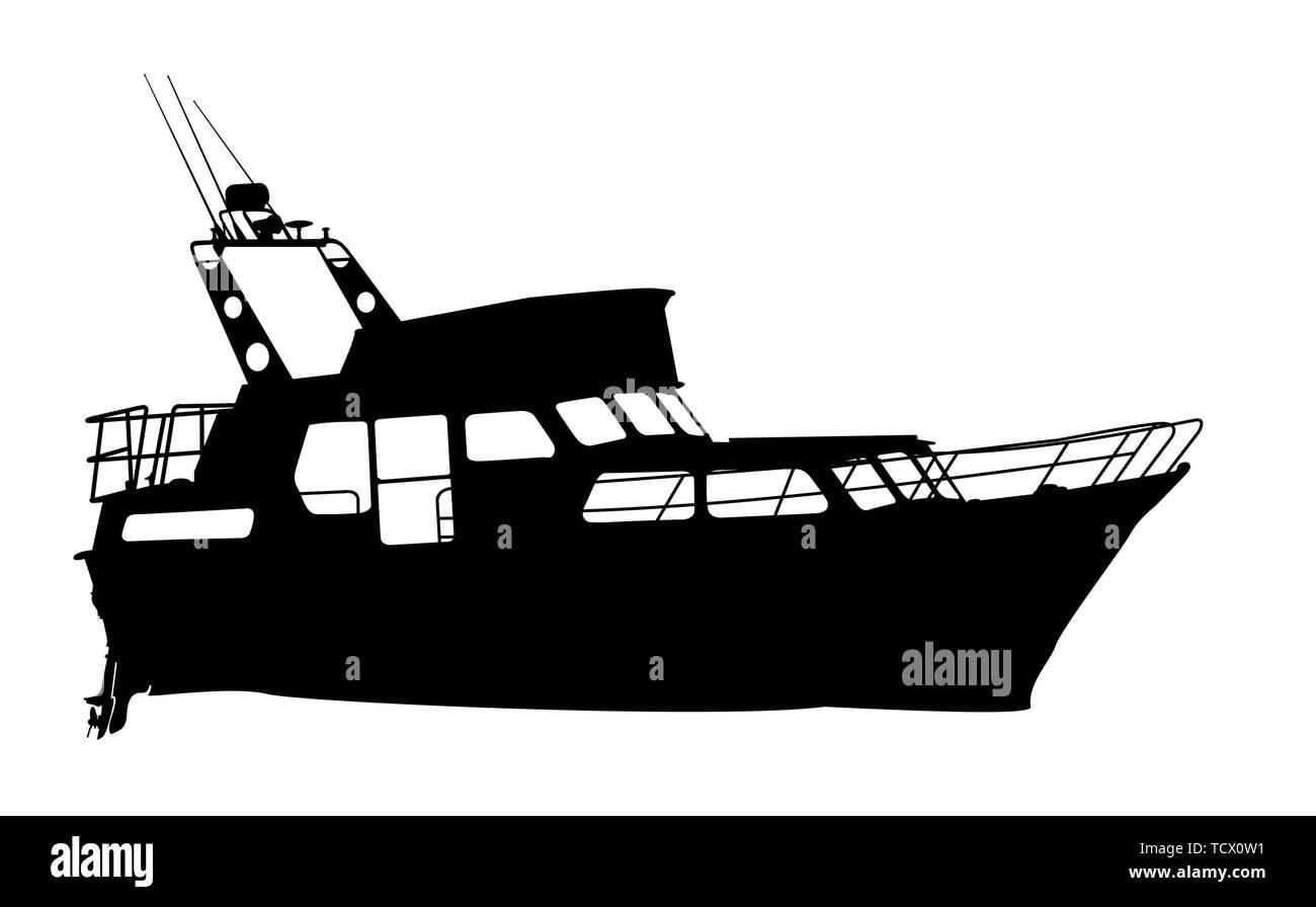 Motor yacht silhouette over white background Stock Vector