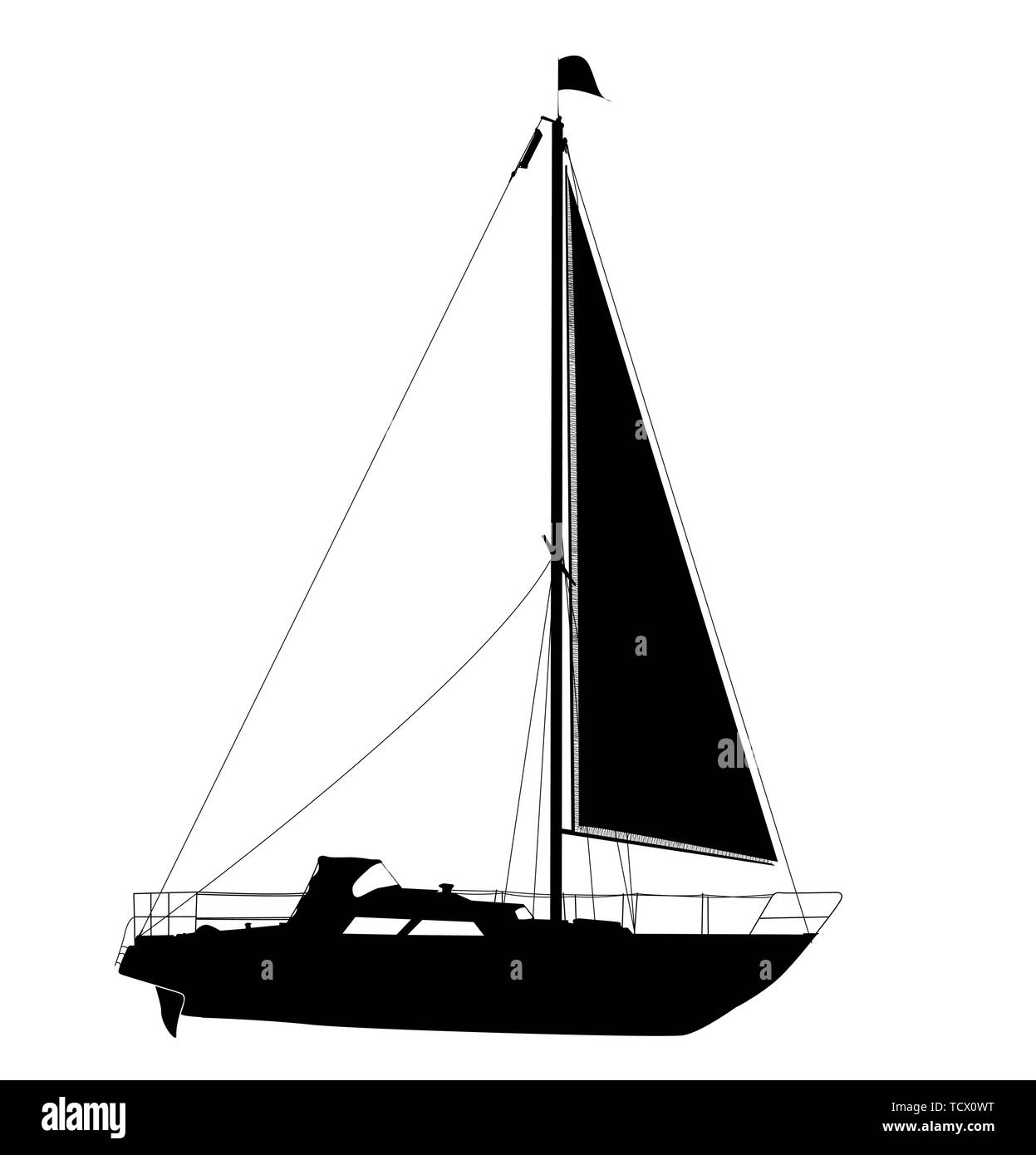 Vector yacht silhouette over white background Stock Vector