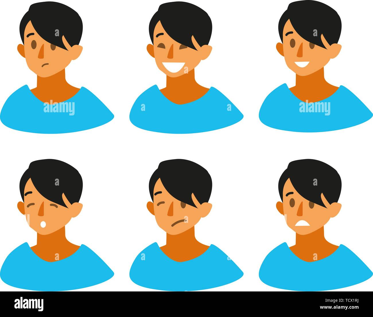 Set of boy s emotions. Facial expression. Beautiful boy emoji with a variety of facial expressions. Boy Avatar. Vector illustration of a flat design. - Stock Vector