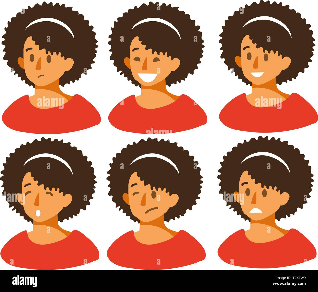Set of woman s emotions. Facial expression. Beautiful girl emoji with a variety of facial expressions. Girl Avatar. Vector illustration of a flat design. - Stock Vector