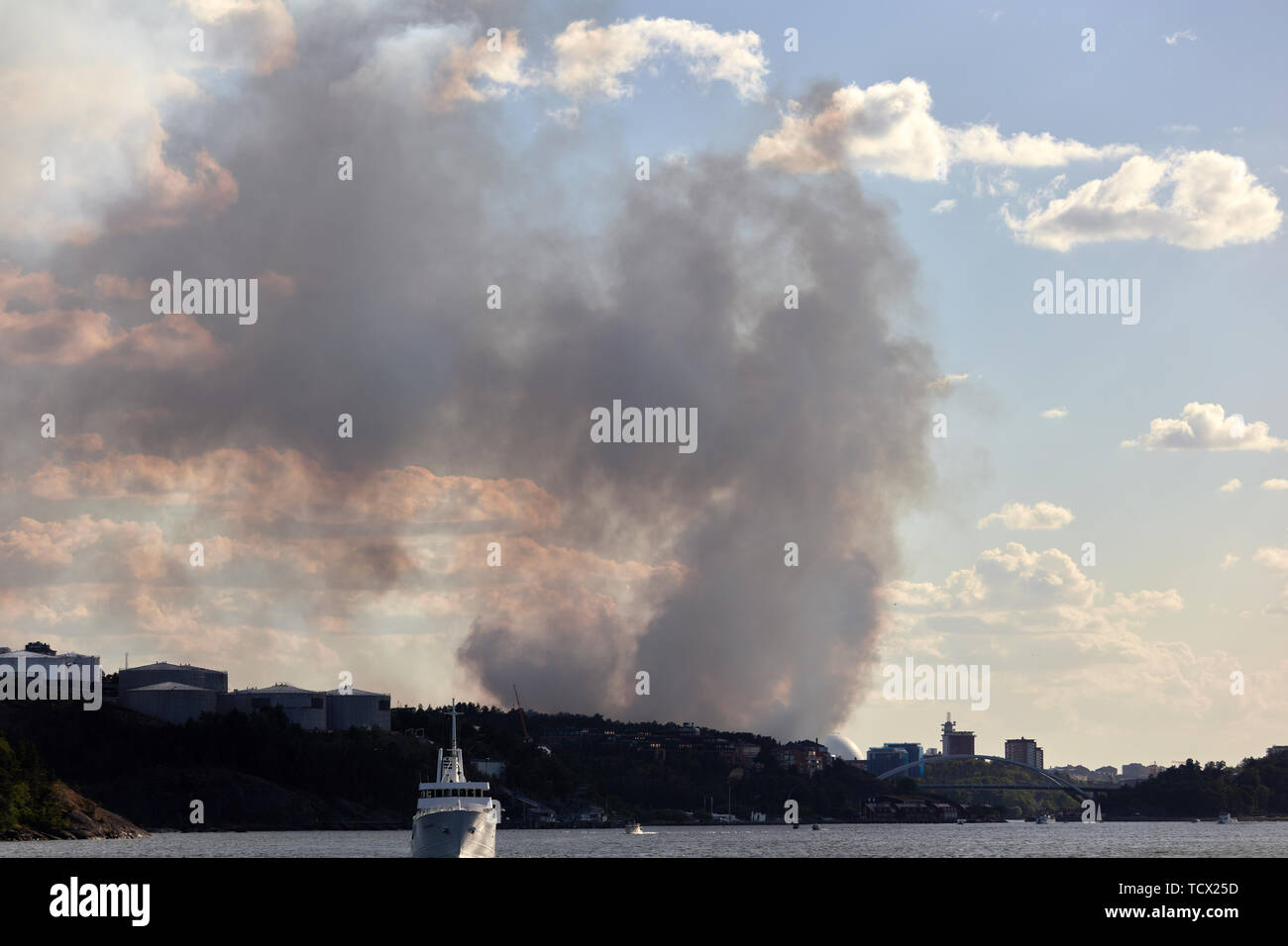 Nacka forest fire, Stockholm, Sweden Stock Photo
