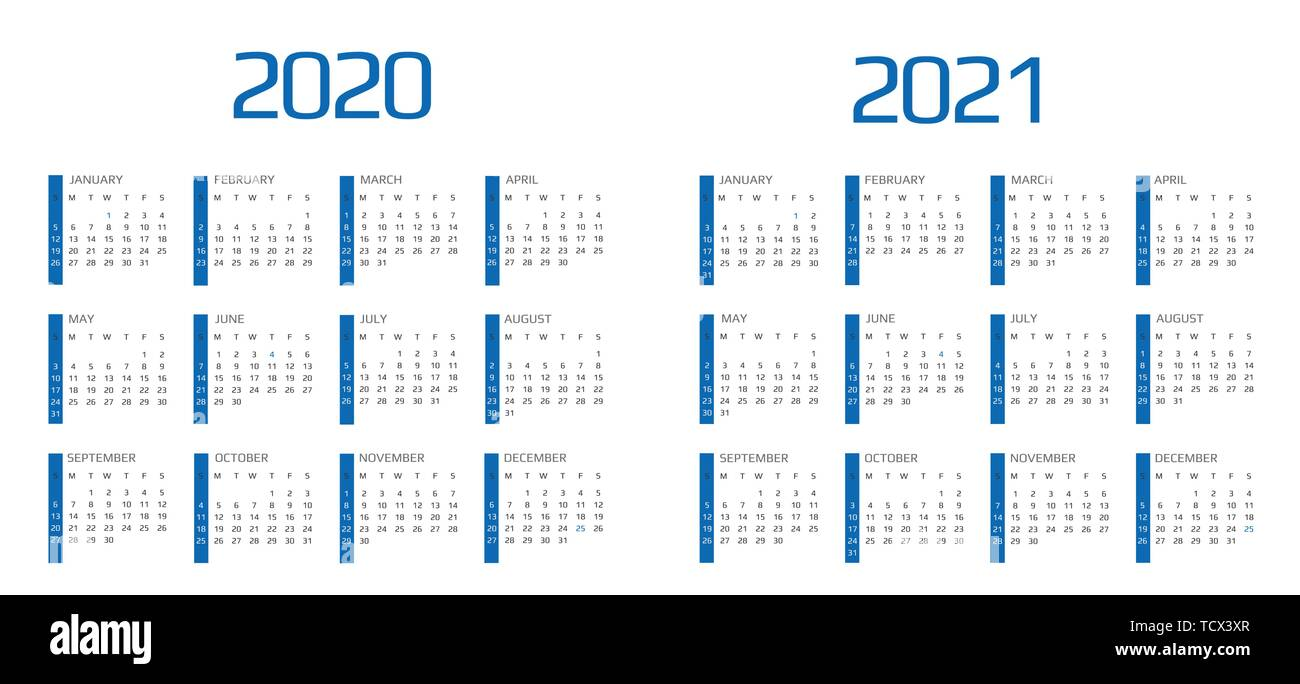 Calendar 2020 and 2021 template. 12 Months. include holiday event - Stock Image