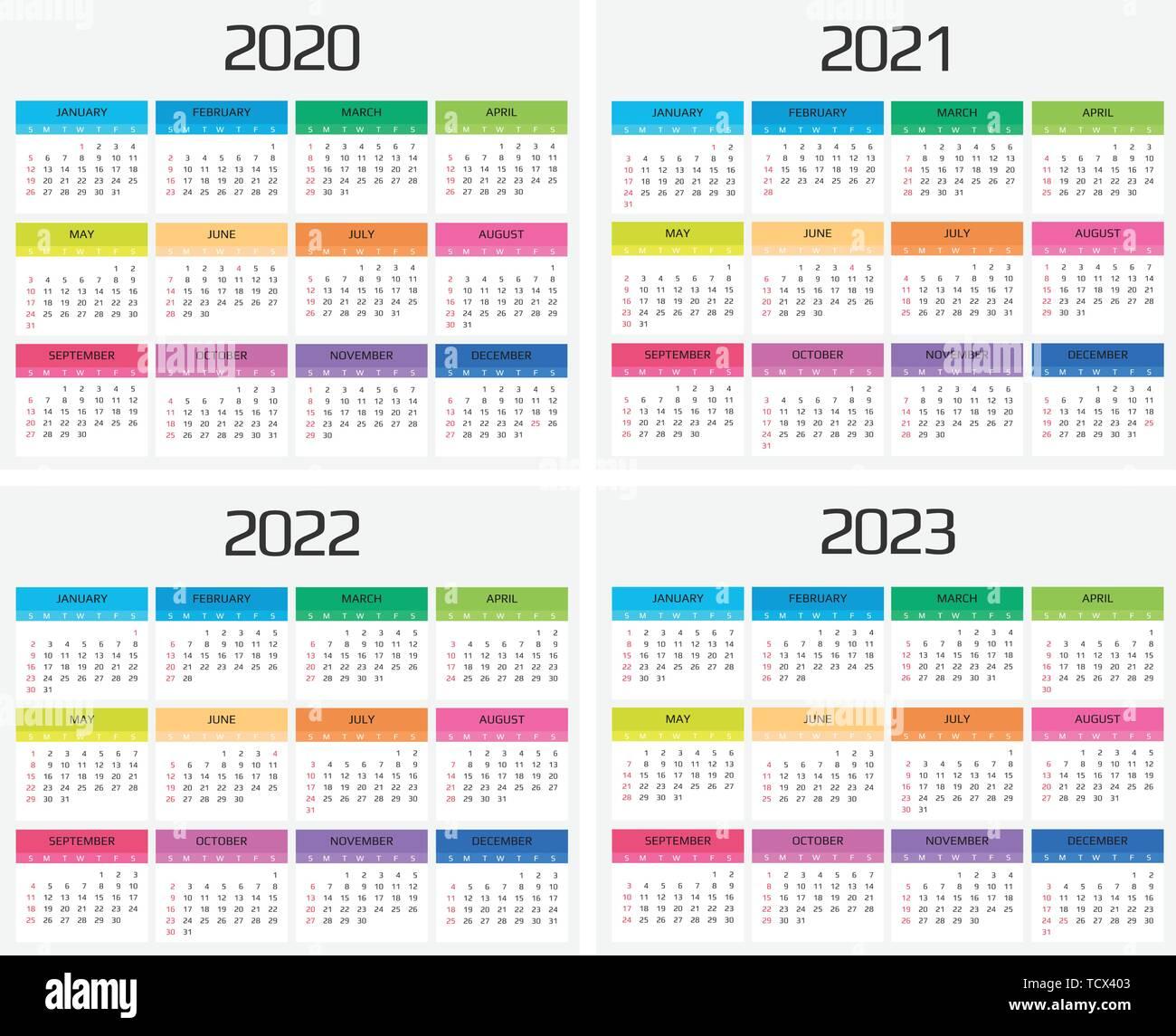 Calendar 2020, 2021, 2022, 2023 template. 12 Months ...