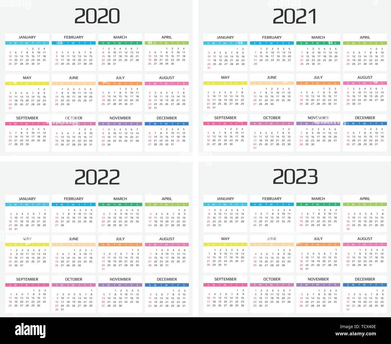 2022 2023 2023 Calendar.Calendar 2020 2021 2022 2023 Template 12 Months Include Holiday Event Week Starts Sunday Stock Vector Image Art Alamy